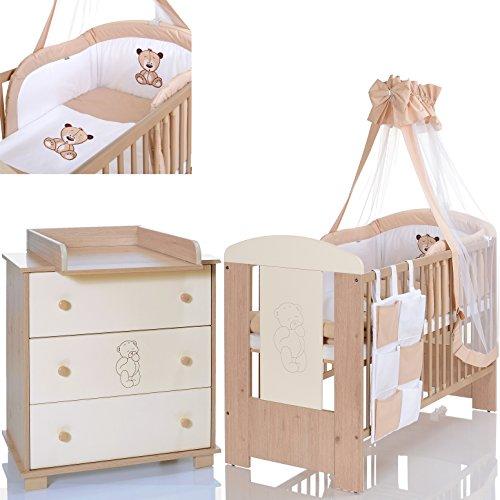 Baby- und Kinderzimmer Möbel Set Bär Beige; Kinderbett 120x60; Wickelkommode; 9 tlg Bettwäsche Set -