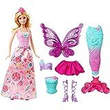 Barbie Bambola con 3 Completini da Favola di Principessa, Sirena e Fatina, Multicolore, DHC39, Modelli/Colori Assortiti, 1 Pezzo