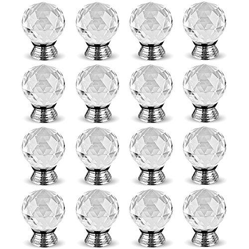 hewnda 1640mm Diamantschliff Kristall klar Glas Küche Schublade Schrank Türknauf Pull Griff Hardware für Schlafzimmer-Möbel, Kommode, Nachttisch, Einheit und Brust -
