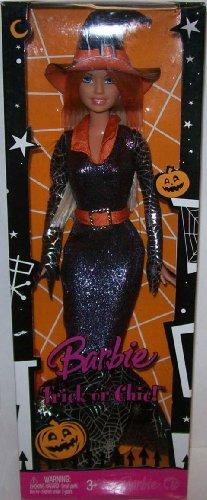Halloween Barbie (Barbie 2008 - Halloween - TRICK or CHIC - im glitzerndem Outfit mit Spinnenweben Gitzerdruck auf den Ärmeln und am Vollant -)