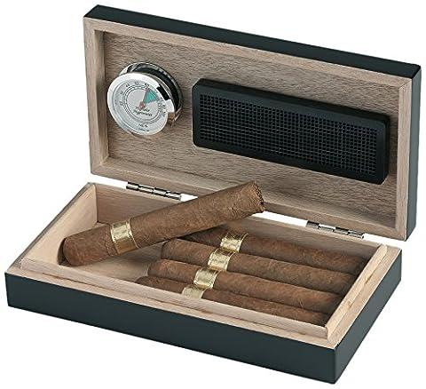 Egoist JK00179 Cave à cigares Humidor Humidificateur avec hygromètre - 5 cigares (Noir)