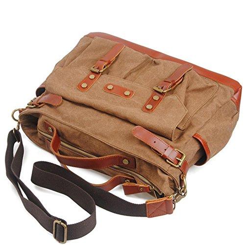 spalla spalla casuale borsa del computer di viaggio uomini borsa di tela borsa Messenger multi-funzione , coffee coffee