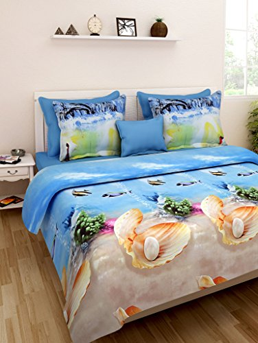 Homefab India 3D Super 140 TC Polycotton Double Bedsheet with 2 Pillow...