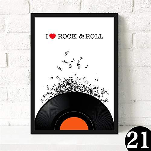 zgmtj Nordic Retro Musik Bar Leinwand Malerei Gitarre Rock Poster Rekord Violine Wandbild Kein Rahmen Cafe Wohnzimmer Wandbild Dekoration (Sport Auto Ausstecher)