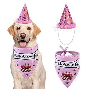 VIPITH Bandana d'anniversaire pour Chien en Coton avec Chapeau de fête d'anniversaire pour Chien, Cadeau et décoration de fête (Rose)