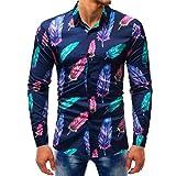 VEMOW Sommer Herbst Frühling Männer Business Hem Fashion Printed Bluse Casual Arbeit Dating Langarm Slim Shirts Tops(Mehrfarbig 6, EU-50/CN-L)