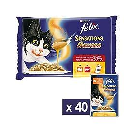 Purina Felix Sensations Sauces Umido Gatto con Tacchino in Salsa al Gusto Bacon e con Manzo in Salsa con Pomodoro, 40 Buste da 100 g Ciascuna, 10 Confezioni da 4 x 100 g