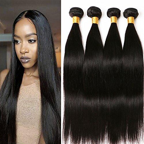 Cheveux Naturel Brésilienne Straight Weave Bundles Tissage Cheveux Naturels Vierges Raide Meches Bresiliennes Lot 4 Brazillian Straight Weave On For Women 14 16 18 20 Inch