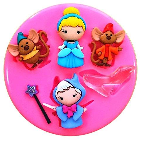Cinderella Gute Fee JAQ & Gus Prinzessin Glass Slipper Silikon Silikonform für Kuchen dekorieren KUCHEN, Cupcake Topper Zuckerguss Sugarcraft von Fairie, Blessings (Cinderella Cupcake Kuchen)