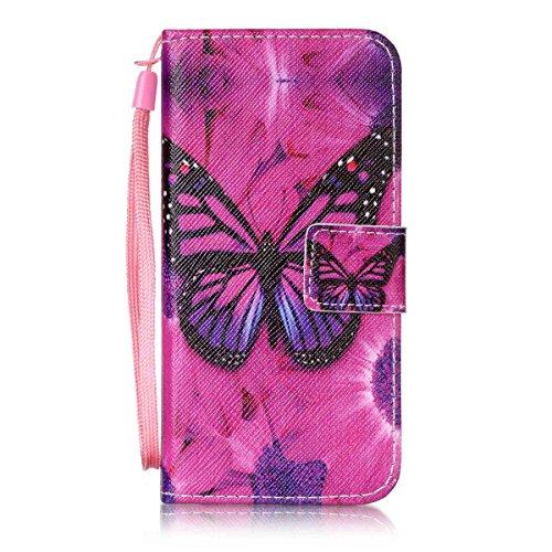 Coque iPhone 6s, Étui en cuir pour iPhone 6, Lifetrut [Cash Slot] [Porte-cartes] Magnetic Flip Folio Wallet Case Couverture avec sangle pour iPhone 6s 6 [Bleu] E207-Papillon