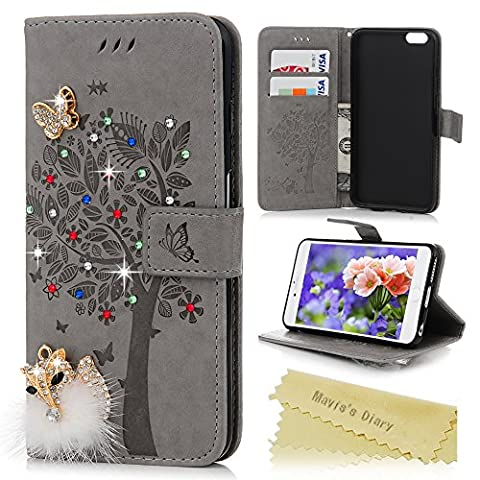 iPhone 6 Plus Case , iPhone 6S Plus Case (5.5 inches) - Mavis's Diary PU Leather Wallet Cover 3D Handmade Bling Diamonds Gems Fluffy Golden Fox Butterfly Tree Emobssed with Soft TPU Inner Cover & Wrist String & Card Slots & Stand Function -