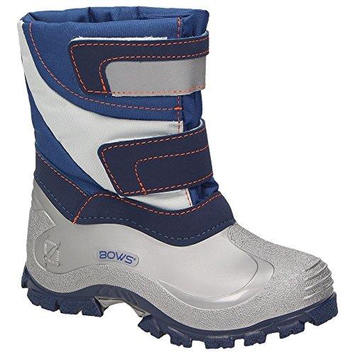 BOWS® -MIKA- Jungen Mädchen Winter Stiefel Schnee Boots Unisex Kinder Schuhe Warmfutter wasserabweisend wasserdicht reflektierend, Schuhgröße:31, Farbe:marineblau
