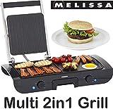 Melissa 16240094 Barbecue de table avec grill, grille de contact électrique, 1500 W, surface de cuisson réglable en continu, revêtement anti-adhésif