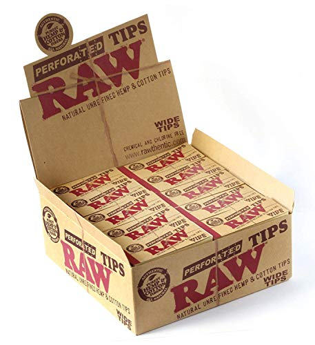 Unbekannt RAW Natural Hemp & Cotton Rolling Wide Tips(Pack of 50TIPS) Full Sealed Box