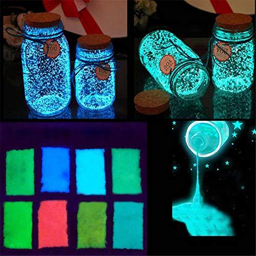 leuchtende Sandpartikel Glow in The Dark Sand, leuchtet Sand und glänzend, für Bastelflaschen blau/grün ()