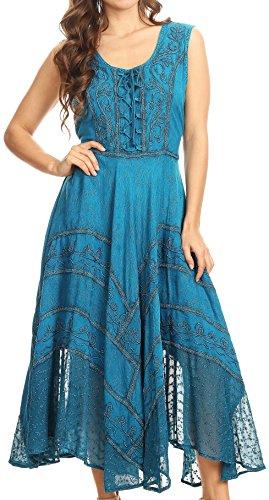 Sakkas 223- Kevina Stein gewascht Kunstseide gesticktes Kleid-türkis Blau-Large/X-Large (Stein Gestickt)