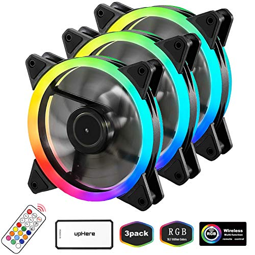 upHere RGB LED Gehäuselüfter 120mm High Airflow Lüfter mit Controller und Hub, 3er-Pack (RGB123-3)
