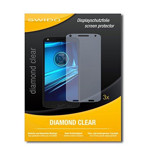 SWIDO 3 x Schutzfolie Motorola Droid Turbo 2 Displayschutz Folie DiamondClear unsichtbar