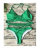 Bikini New Swimwear Women Bikini Set Cross Bandage Beach Bathing Suit Top Low Waist Swimsuit Push up Brazilian Suit Light Green S