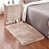 KAIHONG Faux Lammfell Schaffell Teppich, Modern Wohnzimmer Teppich Flauschig Lange Haare Fell Optik Gemütliches Schaffell Bettvorleger Sofa Matte (Braun, 60 x 90 cm)