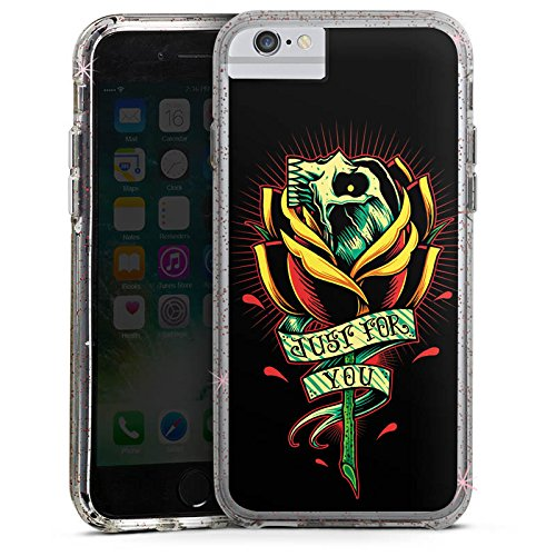 Apple iPhone 7 Bumper Hülle Bumper Case Glitzer Hülle Tattoo Skull Gothic Blume Bumper Case Glitzer rose gold