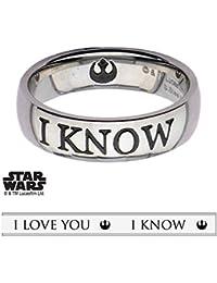 "Punkiss Anillo con inscripción en inglés ""I Love You"", diseño de Star Wars"