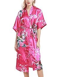 Dolamen Damen Morgenmantel Kimono, glatte Satin Nachtwäsche Bademantel Robe mit Peacock und Blume Kimono Negligee Seidenrobe locker Schlafanzug, Langer Stil