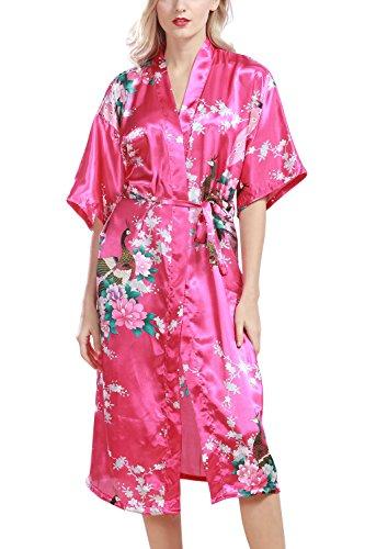 Dolamen Damen Morgenmantel Kimono, glatte Satin Nachtwäsche Bademantel Robe mit Peacock und Blume Kimono Negligee Seidenrobe locker Schlafanzug, Langer Stil (XXX-Large, Rose) (Rosa Kimono Robe)