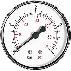 """6bar 60mm presión 86psi aceite medidor de aire o agua de 1/4 """"BSPT manómetro entrada trasera"""