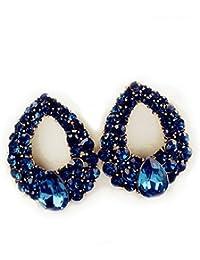 Maple Store Fashion Jewellery Blue Stone Stylish Earrings Fancy Party Wear Earrings For Women & Girls - Blue Stones