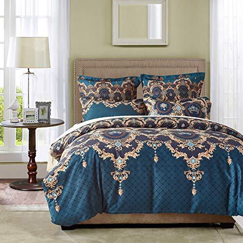 EIGOAL Bettbezug-Set mit Reißverschluss AST und Pflaume Blau Bedruckt Muster, Tröster, Weich, Hypoallergen Mikrofaser 3Stück Queen Size Queen 8840 -