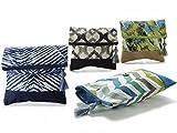 Pochette borsetta pieghevole in cotone e juta con chiusura a zip, bottone e pendaglio - 673896 - disponibile in 4 stili (STILE 3)
