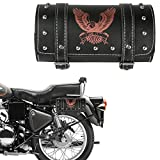 #4: Autofy Universal Multipurpose Light Red Colored Hawk Printed Double Strap Lock Saddle Bag for All Bikes (Black, Silver)