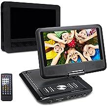 (con Pacchetto auto)Lettore DVD portatile auto, 5 ore gioco tempo, Schermo 9 pollici 800*480 Rotazione a 270° ,Lettore USB / SD Card, Ingresso AV IN / OUT, include Supporto Poggiatesta d'auto