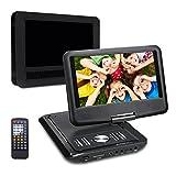 Pumpkin Lecteur DVD Portable CD MP3 soutient USB SD avec Ecran Orientable 5 Heures Batterie Rechargeable Intégré 3m AC DC Adaptateur et Etui de Montage Appuie-tête Lecteur DVD Voiture