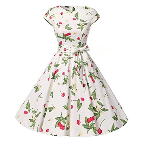 Honestyi Frauen Vintage Blumen 50s Retro Vintage Rockabilly Kleid Partykleider Cocktailkleider Prom Swing Kleid Abendkleider Partykleider Eelegant Printkleider (S, Weiß)