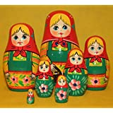 Matrioska muneca rusa tallada de madera pintada a mano, estilo tradicional, 7pc