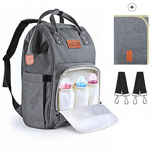 Viedouce Baby Wickelrucksack Wickeltasche Babytasche,Wasserdicht Oxford Große Kapazität für ausgehen,Multifunktional zum Rucksack mit 1 Stück Wickelauflage und 2 Kinderwagengurten (Grau)