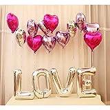 Amaoma 30 Zoll Hochzeit Ballon Set, Briefe Herzförmige Mylar Ballons, Hochzeit Ballons, DIY Deko Ballonsäule, Valentinstag, Jubiläum, Hochzeit, Verlobung, Wedding, Hochzeitsdekoration, Party Dekoration, PartyZubehör, Fotorequisite, Liebes Überraschung (Rose Rot)