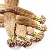 hair2heart 25 x Bonding Extensions aus Echthaar, 40cm, 0,5g Strähnen, glatt - 12 honigblond