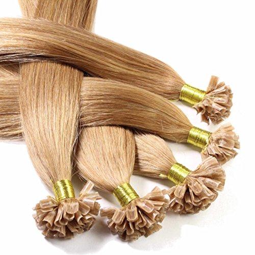 hair2heart 50 x 0.5g Echthaar Bonding Extensions, glatt - 40cm - #12 honigblond - Keratin Bond