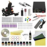 WORMHOLE TATTOO Komplettes Tattoo Kit 1 Tattoo Maschine Netzteil 10 Tattoo Nadeln 10 Farbtinten für Anfänger und Künstler (TK1000026)
