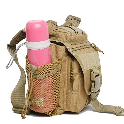 Military MOLLE Schultertasche Tasche Versipack Taktische multifunktionale Kamera Beutel Sling Assault Pack EDC Umhängetasche Rucksack für Motorrad Radfahren Wandern Wandern mit Wasser Flaschenhalter Khaki