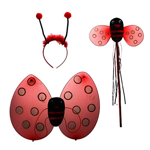 Marienkäfer Ladybird Kinder kostüm Zauberstab Stirnband Rock Halloween Party - 3pcs ohne rock, Eine Grösse passt allen (Marienkäfer Kostüm Stirnband)