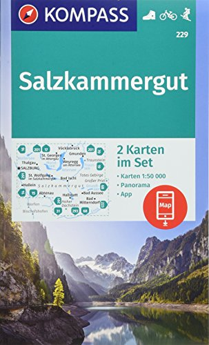 Salzkammergut: 2 Wanderkarten 1:50000 im Set mit Panorama inklusive Karte zur offline Verwendung in der KOMPASS-App. Fahrradfahren. Skitouren. (KOMPASS-Wanderkarten, Band 229)