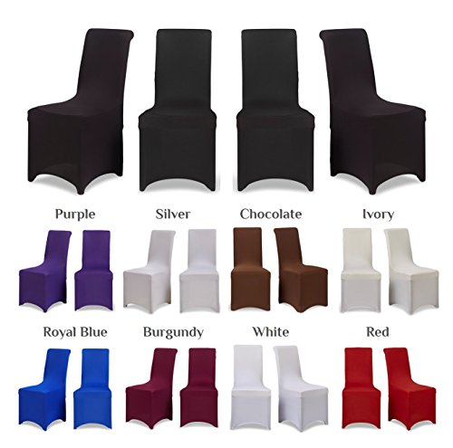 Covering All Occasions Chair Covers Stretch Fit Lycra Spandex | Flat Fronted | Dining Room Wedding Banquet Party - Black 4
