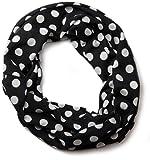 styleBREAKER Feinstrick Punkte Muster Loop Schlauchschal, Uni 01012036, Farbe:Schwarz-Weiß