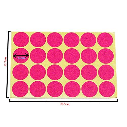 LJY 32mm etiquetas pegajosas grandes de punto redondas etiquetas de codificación de color, 12 diferentes etiquetas clasificadas de puntos de colores, 24 hojas