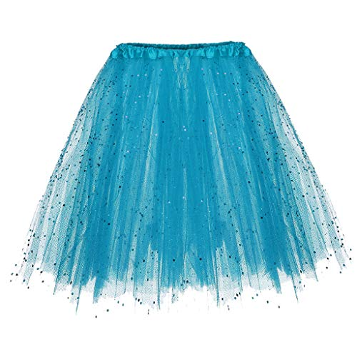 Andouy Damen Tutu Rock Tüll Sparkly Pailletten Balletttanz Organza 50s Jahre Kostüm Mini Dress-up Größe 36-44(36-44,Blau)