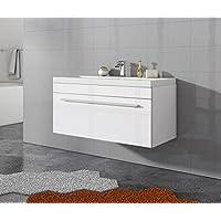 Badezimmer Badmöbel Porto 90 Cm Hochglanz Weiß   Unterschrank Schrank  Waschbecken Waschtisch